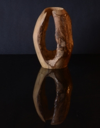 Natural edged vase, 17.5cm x 11cm diameter