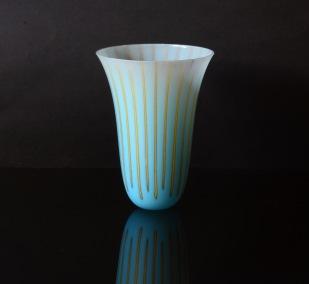 Kiln-Formed deep vessel; glass powders and sheet;130mm diameterx 180mm height