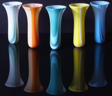 Deep vessels made from glass sheet, kiln-formed, each 150mm high x 75mm diameter; mint, orange, teal, canary and cyan