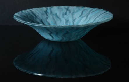 kiln-formed shallow vessel; sintered glass powders and sheet; organic edge; 285mm diameter x 70mm depth; created summer 2014