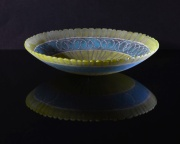 Shallow vessel; 265mm x 60mm;fused glass powders and sheet